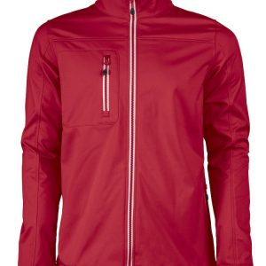 Softshell jas rood borduren met Logo