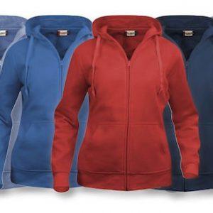Hoodie basic dames vest met rits 021035 Clique borduren kleding