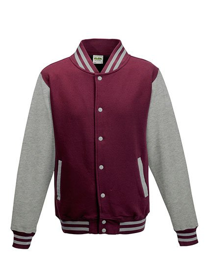JH043 baseball vest burgundy/heather grey