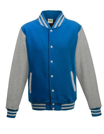 JH043 baseball vest safhire blue/heather grey