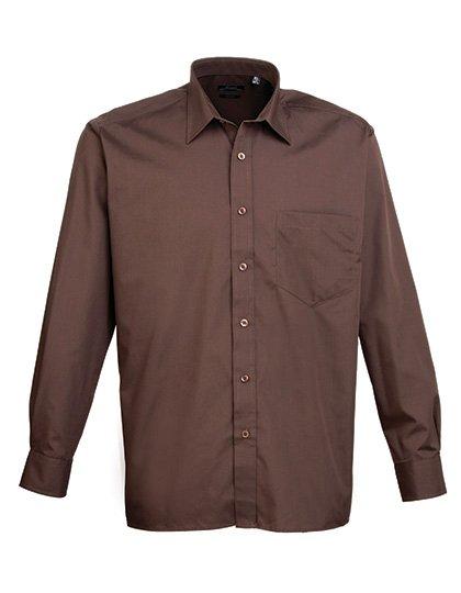 PW200 overhemd bruin (brown) borduren met logo of tekst