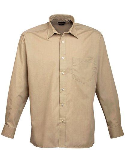 PW200 overhemd zand licht bruin (khaki) borduren met logo of tekst