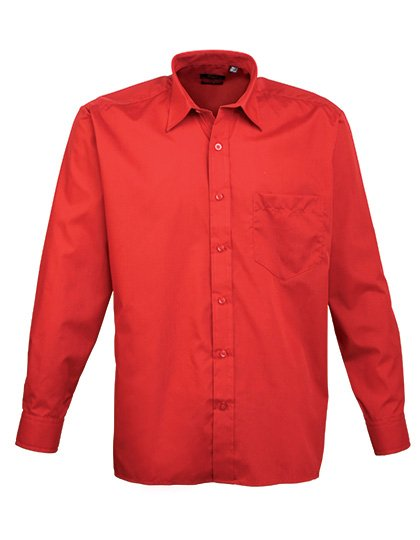 PW200 overhemd rood (red) borduren met Logo of tekst