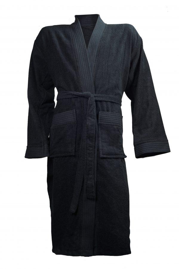 Badjas met sjaalkraag zwart borduren met naam tekst logo