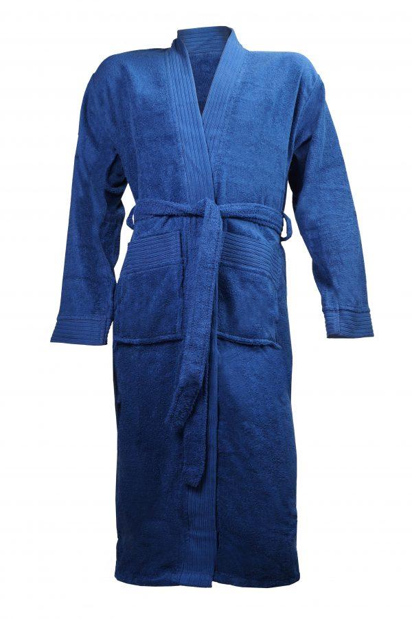 Badjas met sjaalkraag donkerblauw borduren met naam tekst logo