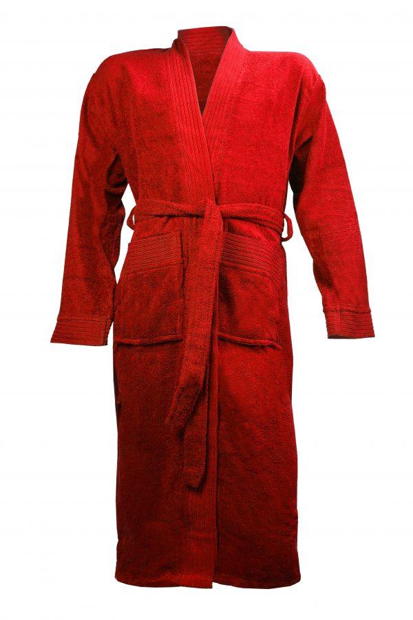 Badjas met sjaalkraag rood borduren met naam tekst logo