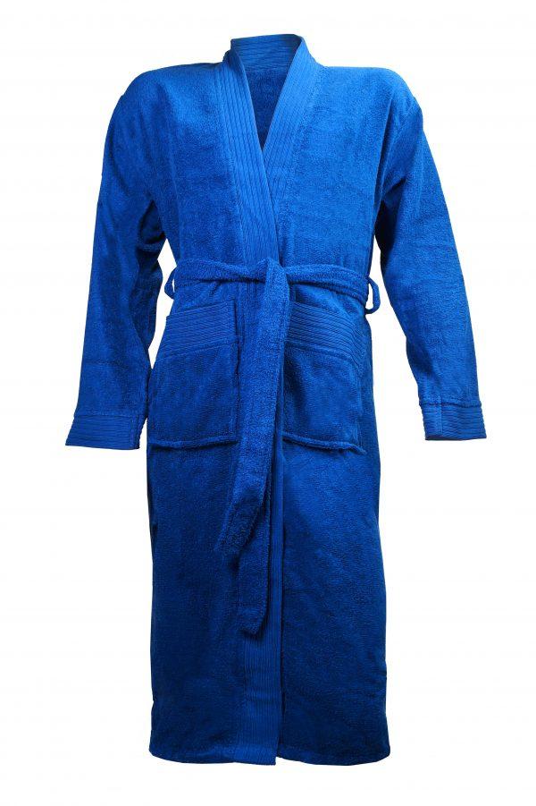 Badjas met sjaalkraag kobalt blauw borduren met naam tekst logo