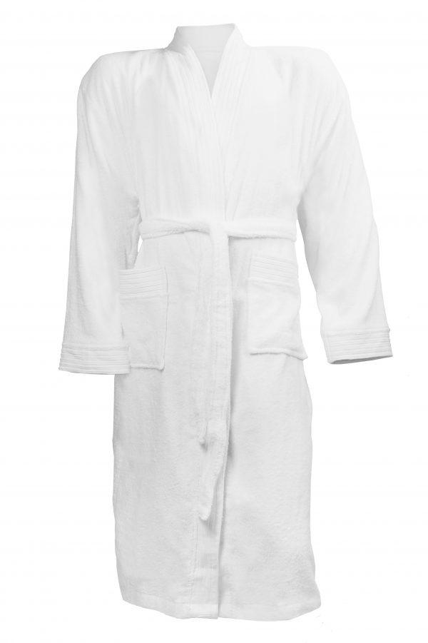 Badjas met sjaalkraag wit borduren met naam tekst logo