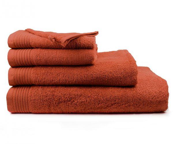 Luxe handdoek douchelaken 70 x 140 roestbruin terra spice