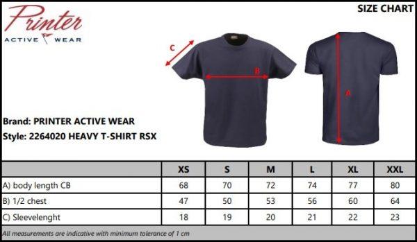 Heavy T-Shirt RSX heren Printer 2264020 maten tabel