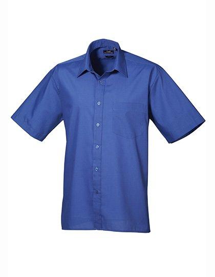 PW202 Overhemd korte mouwen kobalt blauw