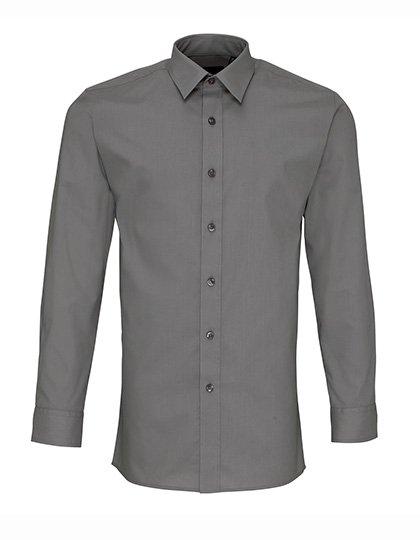 PW204 Fitted Overhemd lange mouwen donker grijs dark grey