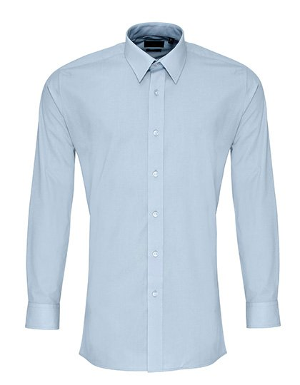 PW204 Fitted Overhemd lange mouwen licht blauw