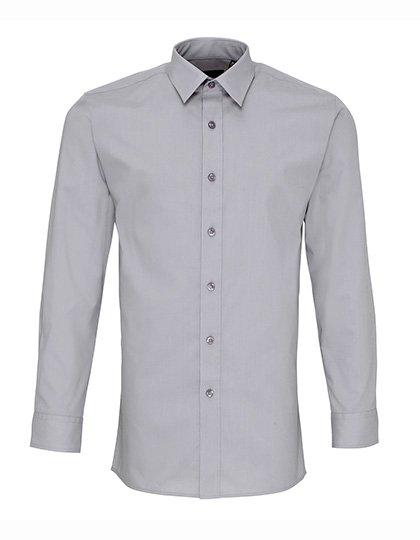 PW204 Fitted Overhemd lange mouwen zilver grijs silver