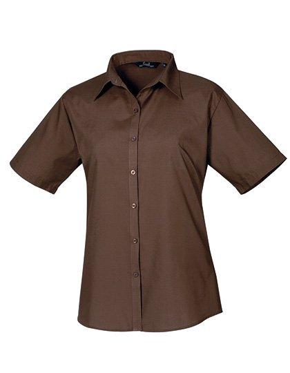 PW302 blouse korte mouwen dames bruin
