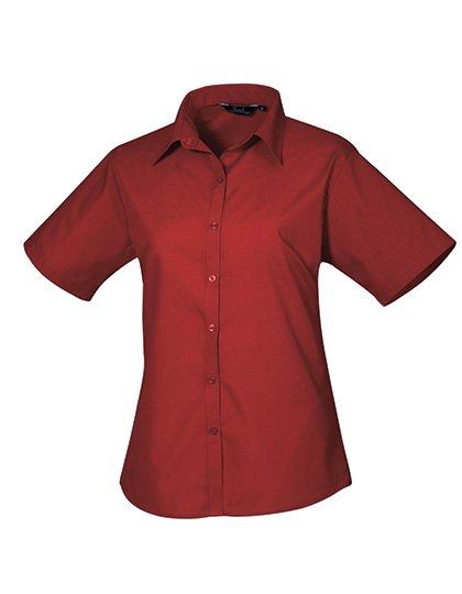 PW302 blouse korte mouwen dames bordeaux rood burgundy