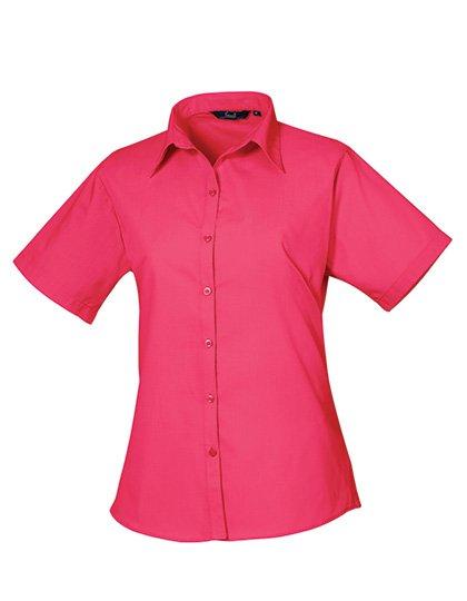 PW302 blouse korte mouwen dames fel roze pink