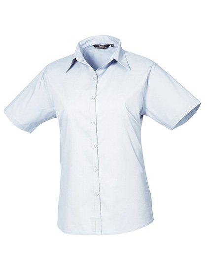 PW302 blouse korte mouwen dames licht blauw