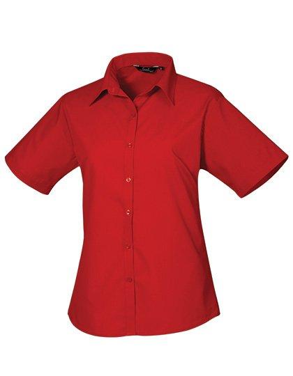 PW302 blouse korte mouwen dames rood