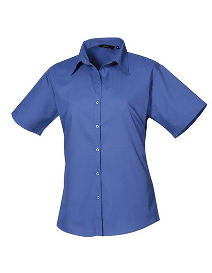 PW302 blouse korte mouwen dames kobaltblauw