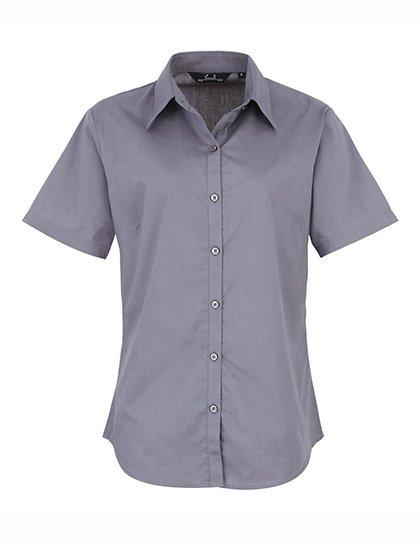PW302 blouse korte mouwen dames staalgrijs