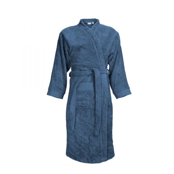 Badjas met sjaalkraag kleur jeansblauw denim